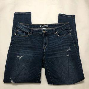 R1893 Roebuck Skinny Jeans Dark Distressed Size 14